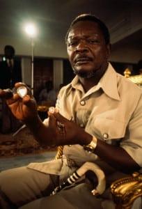 Central African Republic President Bokassa Holding Diamonds
