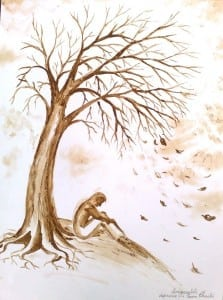 singuratatea-si-depresie-copacul-despresiv-pictura-facuta-cu-cafea