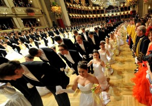 Debutants dance the opening waltz during the traditional Opera Ball at the state opera in Vienna on March 3, 2011. The grand ball in Vienna is one of the most high-prestige traditional events in the city and was attended by high profile visitors including eccentric entrepreneur Richard Lugner with his guest Karima el-Mahroug, known as Ruby Rubacuori, or Heartstealer, the young woman at the centre of the sex scandal involving Italian Prime Minister Silvio Berlusconi. AFP PHOTO / JOE KLAMAR