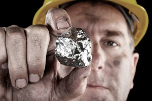 http://www.dreamstime.com/stock-photography-silver-miner-nugget-image21869252