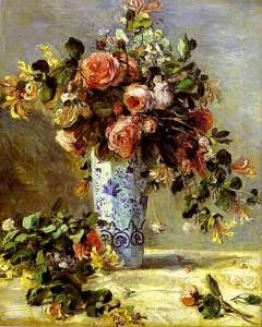trandafiri si iasomie in vaza de portelan