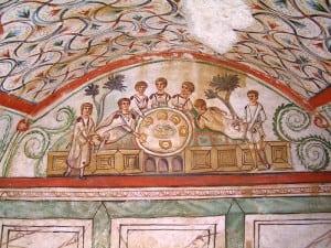 Hipogeul-cu-banchet-Peretele-de-nord-scena-centrala-a-banchetului-ritual-cu-cele-sapte-personaje