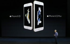 SAN FRANCISCO, CA - SEPTEMBER 9: Apple CEO Tim Cook introduces the new iPhone 6s and 6s Plus during a Special Event at Bill Graham Civic Auditorium September 9, 2015 in San Francisco, California. Apple Inc. is expected to unveil latest iterations of its smart phone, forecasted to be the 6S and 6S Plus. The tech giant is also rumored to be planning to announce an update to its Apple TV set-top box. (Photo by Stephen Lam/ Getty Images)