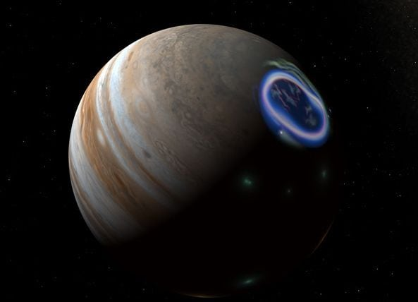 Aurore boreale pe Jupiter