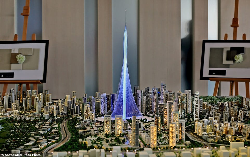 A model of the Tower Project at Dubai Creek Harbour Development designed by Spanish-Swiss architect Santiago Calatrava Valls, in Dubai, United Arab Emirates, Sunday, April 10, 2016. Dubai is reaching for the sky once again, with the developer of its world's tallest building vowing Sunday to build an even taller tower bedecked with rotating balconies and elevated landscaping inspired by the mythical hanging gardens of Babylon. (AP Photo/Kamran Jebreili)