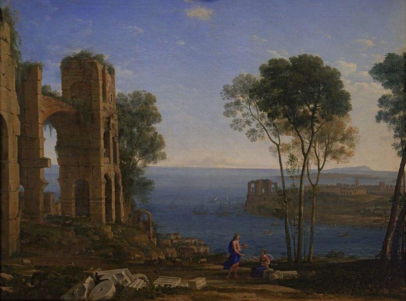 800px-Saint-Petersbourg-Ermitage-Claude-Gellee-dit-le-Lorrain-paysage-avec-Apollon-et-la-Sibylle-de-Cumes-8243