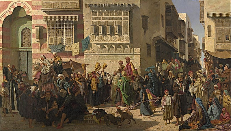 canvas-art-prints-stretched-framed-giclee-painting-robert-dowling-sheikh-his-son-entering-cairo-on-their