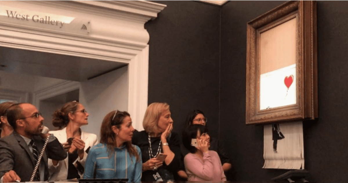 """""""Fată cu balon"""", pictură semnată de Bansky, s-a autodistrus"""