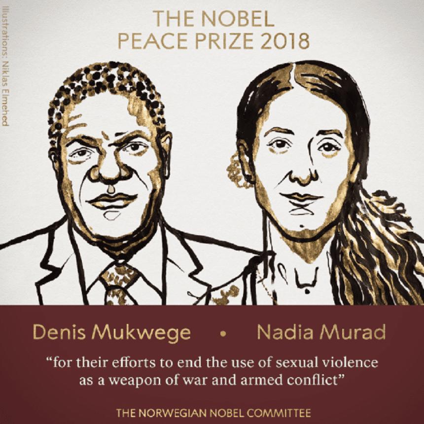 NOBEL 2018: Denis Mukwege și Nadia Murad au primit Nobelul pentru Pace